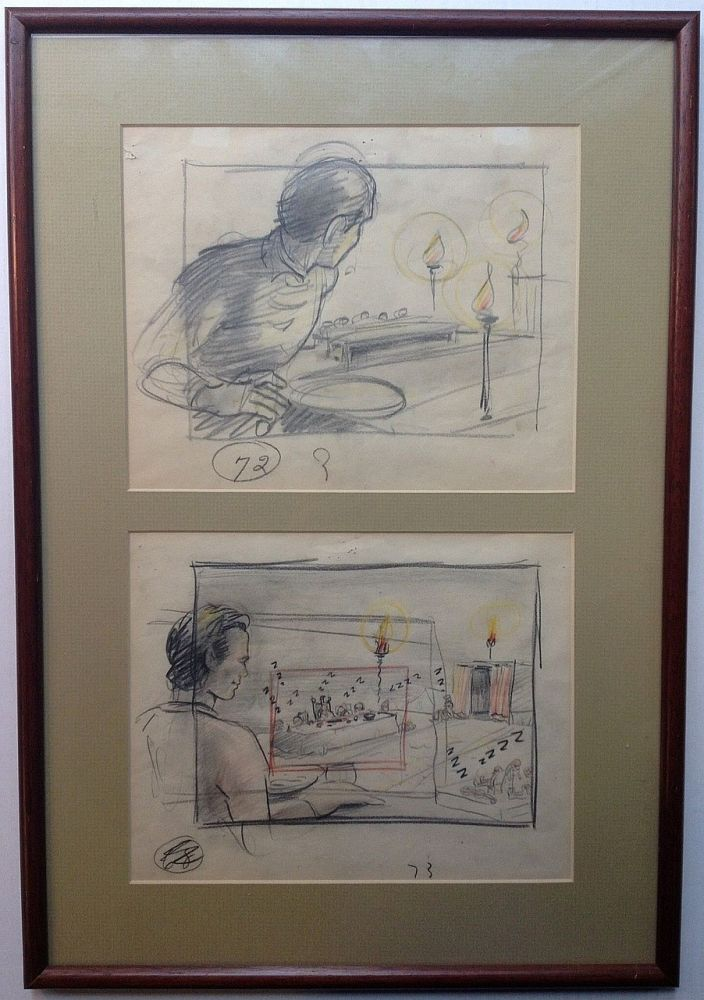 "Three framed original cartoons from ""Gulliver's Travels"" Thomas A. JOHNSON, 1907 - 1960."