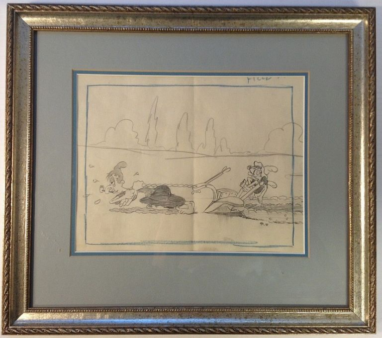 """Framed original animation production drawing from the 1939 Betty Boop short """"Musical Mountaineers"""" Thomas A. JOHNSON, 1907 - 1960."""