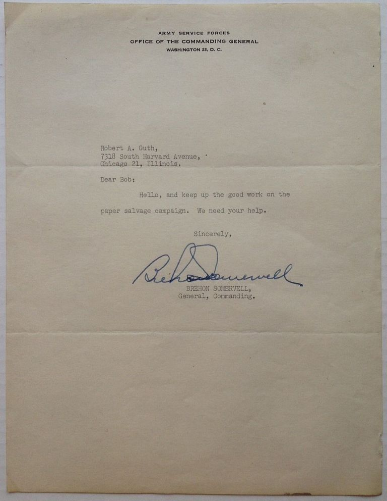 """Typed Letter Signed on """"Army Service Forces"""" letterhead. Brehon SOMERVELL, 1892 - 1945."""