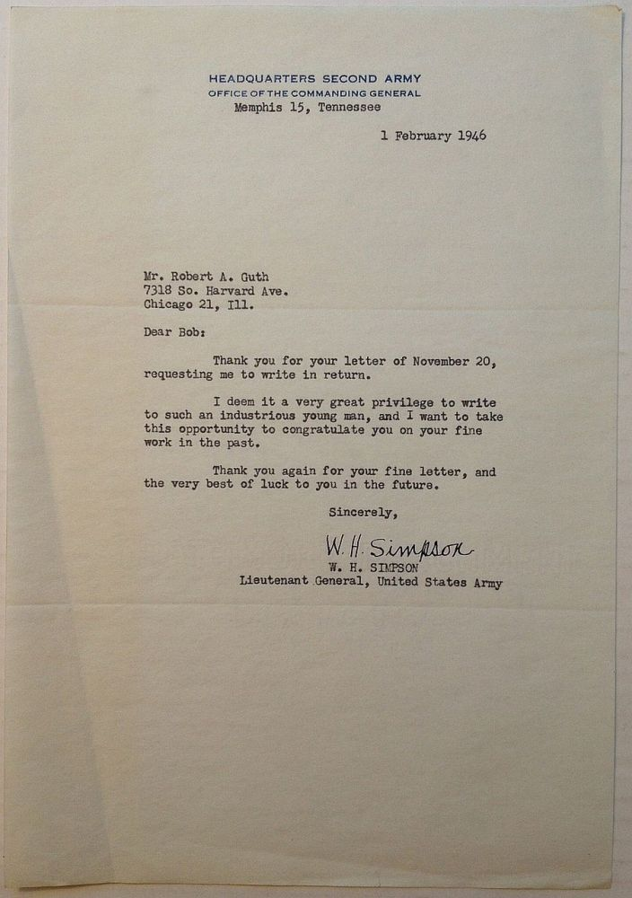 """Typed Letter Signed on """"Headquarters Second Army"""" letterhead. W. H. SIMPSON, 1888 - 1980."""