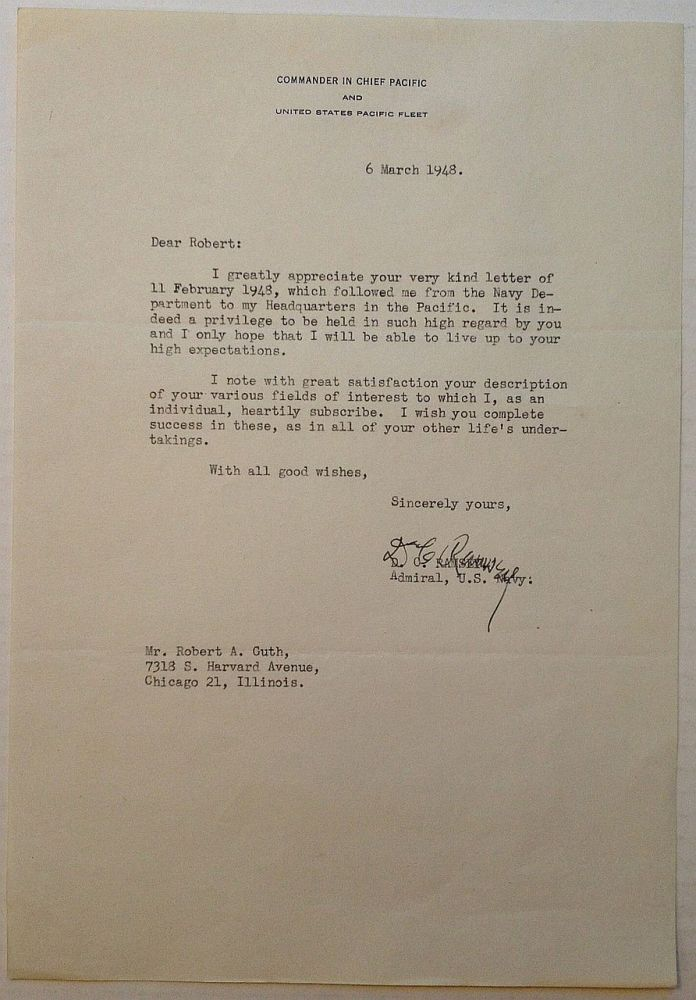 Typed Letter Signed on official military letterhead. Dewitt Clinton RAMSEY, 1898 - 1961.