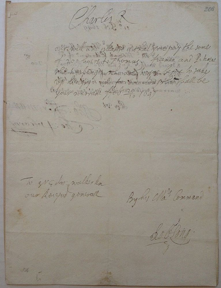 """Autographed Document Signed """"Charles R"""" as King. CHARLES ll, 1630 - 1685."""