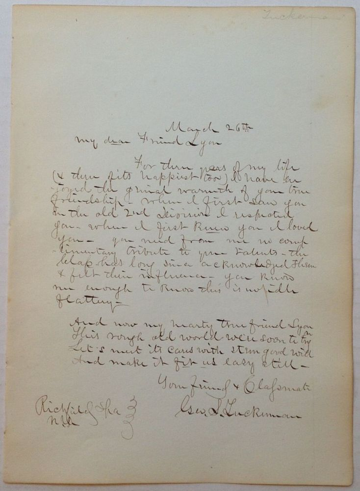 Autographed Letter Signed by Sharpshooter George S. Tuckerman. CIVIL WAR, - First United States Sharpshooters.