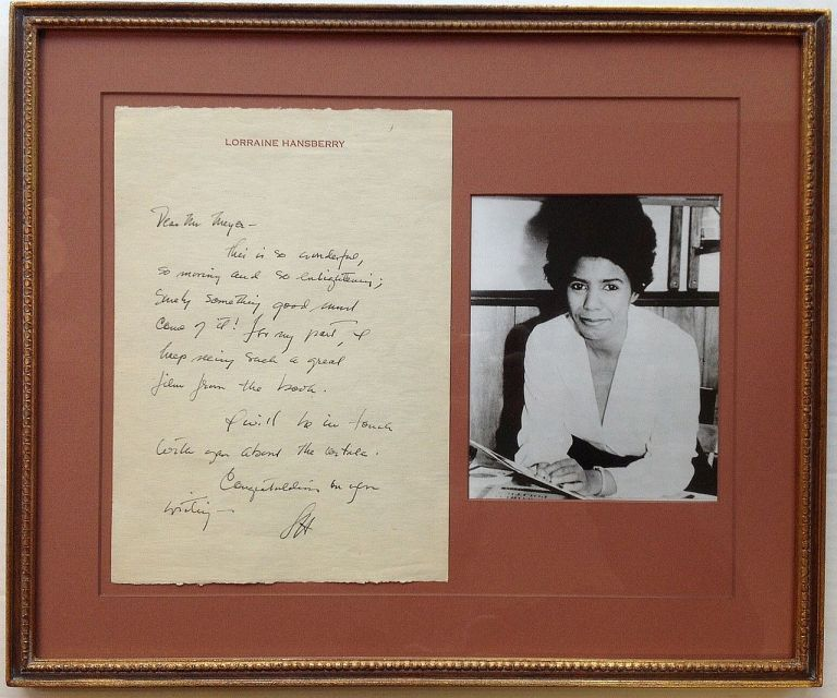 Framed Autographed Letter Signed on personal letterhead. Lorraine HANSBERRY, 1930 - 1965.