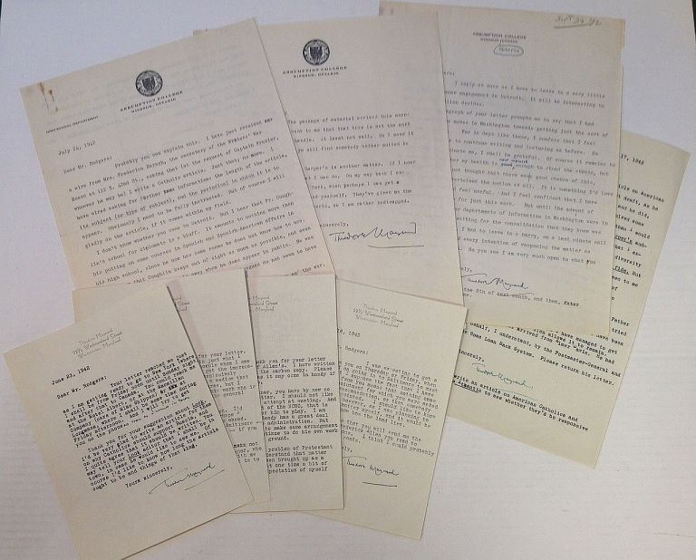 Archive of Eight Typed Letters Signed. Theodore MAYNARD, 1890 - 1956.
