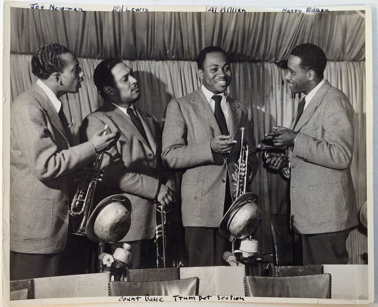Early Photograph by Dunc Butler. COUNT BASIE TRUMPET SECTION.