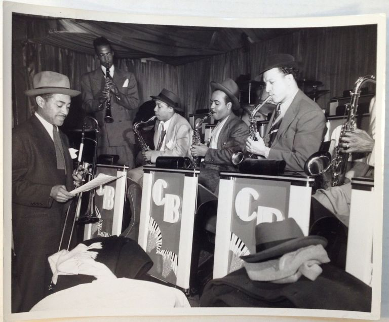 Early Photograph of a rehearsal. COUNT BASIE BAND.