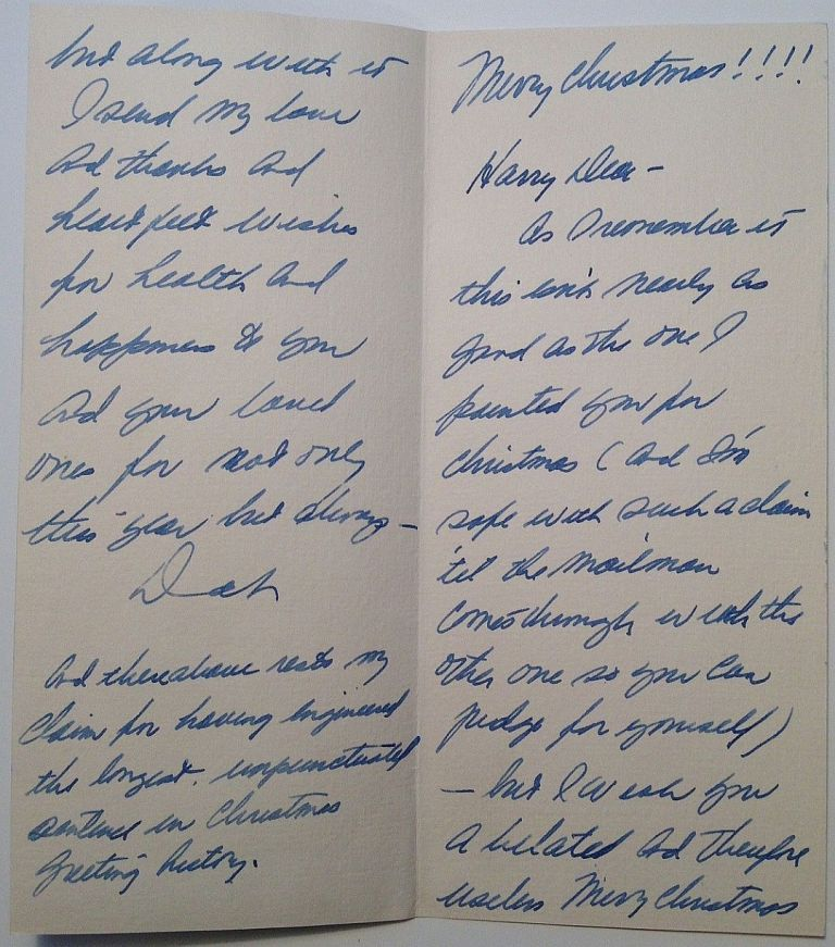 Autographed Letter Signed inside a hand-painted Christmas Card. Dinah SHORE, 1916 - 1994.