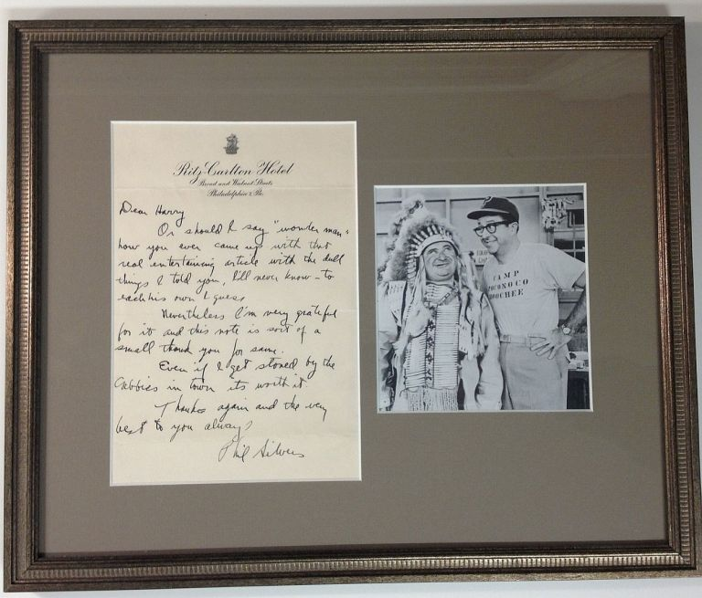Framed Autographed Letter Signed. Phil SILVERS, 1911 - 1985.