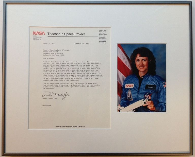 """Framed Typed Letter Signed on NASA letterhead about the """"Challenger"""" mission. Christa McAULIFFE, 1948 - 1986."""