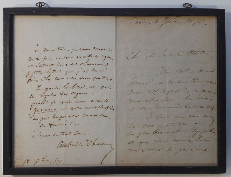 Framed Autographed Letter Signed in French. Ambroise THOMAS, 1811 - 1896.