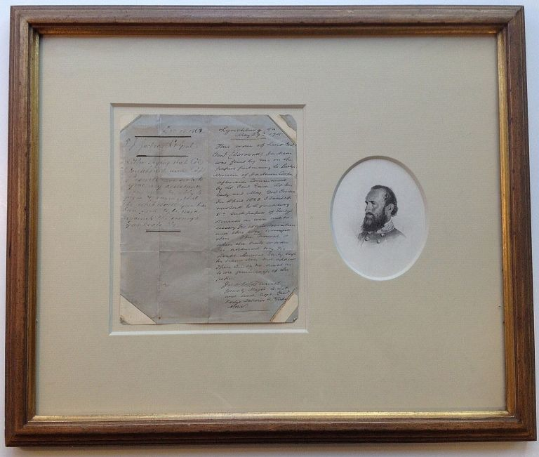 "Framed handwritten Field Order from the Civil War. THOMAS J. ""Stonewall"" JACKSON, 1824 - 1863."