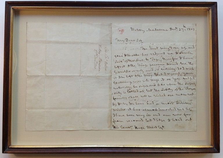 Framed war-date Autographed Letter Signed with fine content. Horatio NELSON, 1st Duke of Bronte 1st Viscount Nelson, 1758 - 1805.