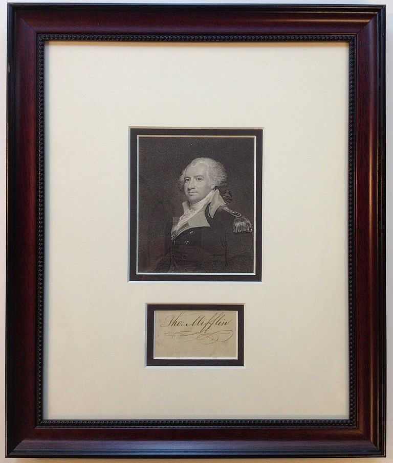 Clipped Signature Framed with a Portrait. Thomas MIFFLIN, 1744 - 1800.
