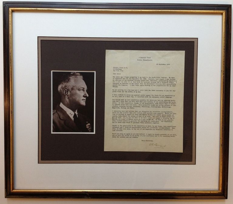 Framed Typed Letter Signed about an expedition to the South Polar region. Richard Evelyn BYRD, 1888 - 1957.