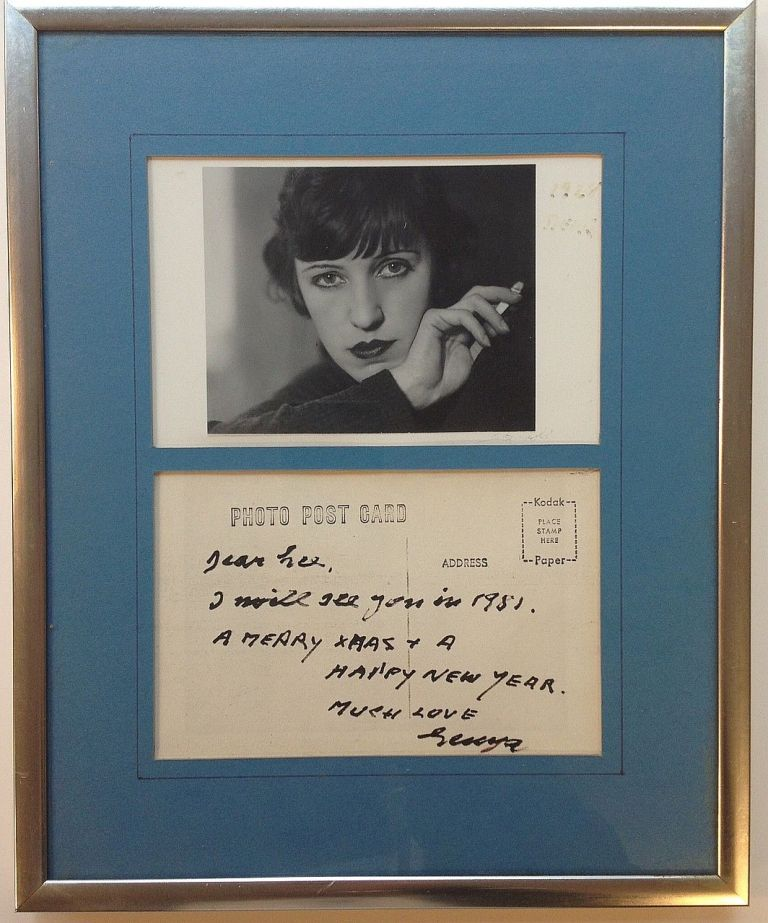 Framed Autographed Note Signed on a Postcard. Lotte LENYA, 1898 - 1981.