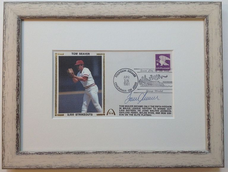 Framed signed envelope commemorating his 3,000th strikeout. Tom SEAVER, 1944 -.