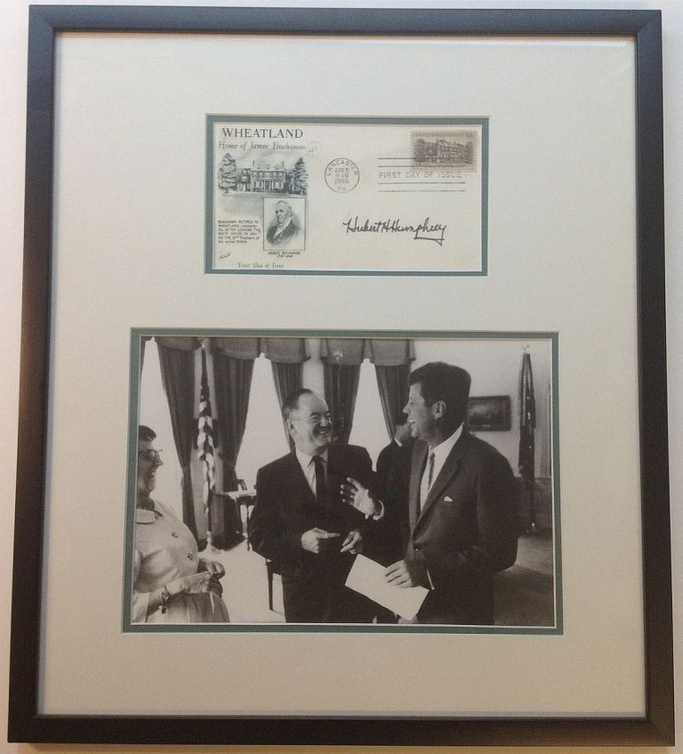 Framed signed commemorative envelope. Hubert H. HUMPHREY, 1911 - 1978.