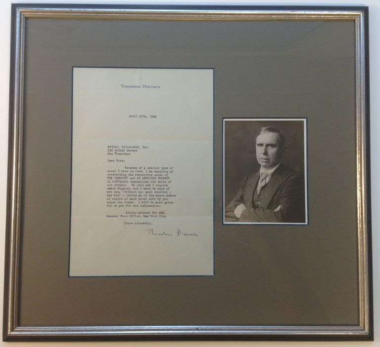 Framed Typed Letter Signed to his Publisher. Theodore DREISER, 1871 - 1945.