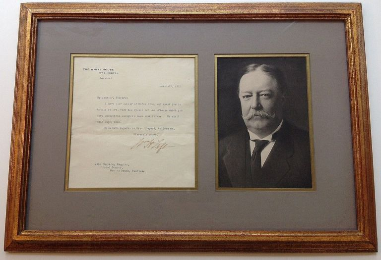 Framed Typed Letter Signed as Vice President. William Howard TAFT, 1857 - 1930.