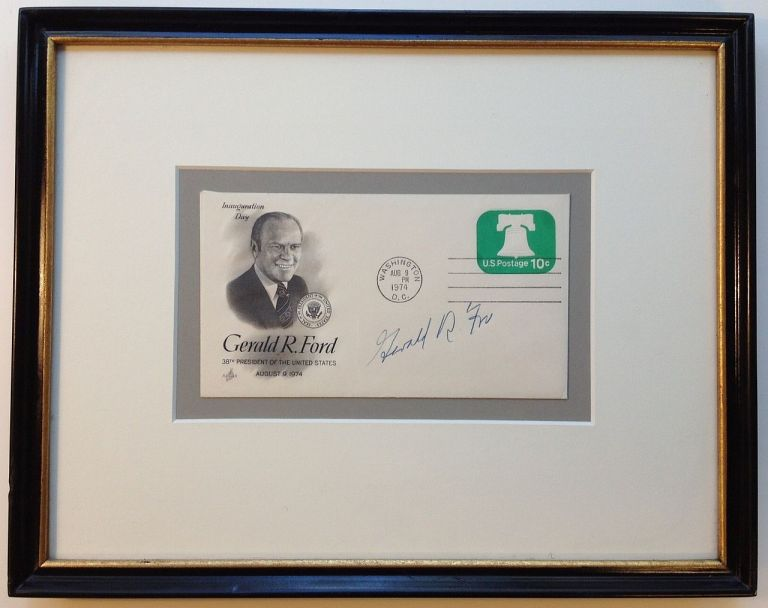 Framed signed envelope commemorating Inauguration Day. Gerald R. FORD, 1913 - 2006.