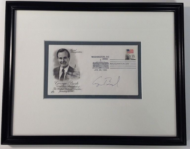 Framed signed envelope commemorating Inauguration Day. George H. W. BUSH, 1924 -.