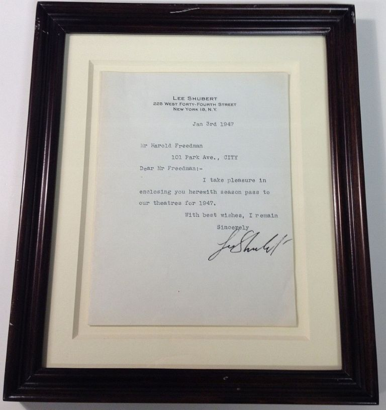 Framed Typed Note Signed on personal stationery. Lee SHUBERT, 1871 - 1953.