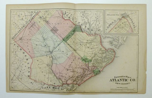 Topographical Map of Atlantic Co. New Jersey. Frederick W. BEERS.