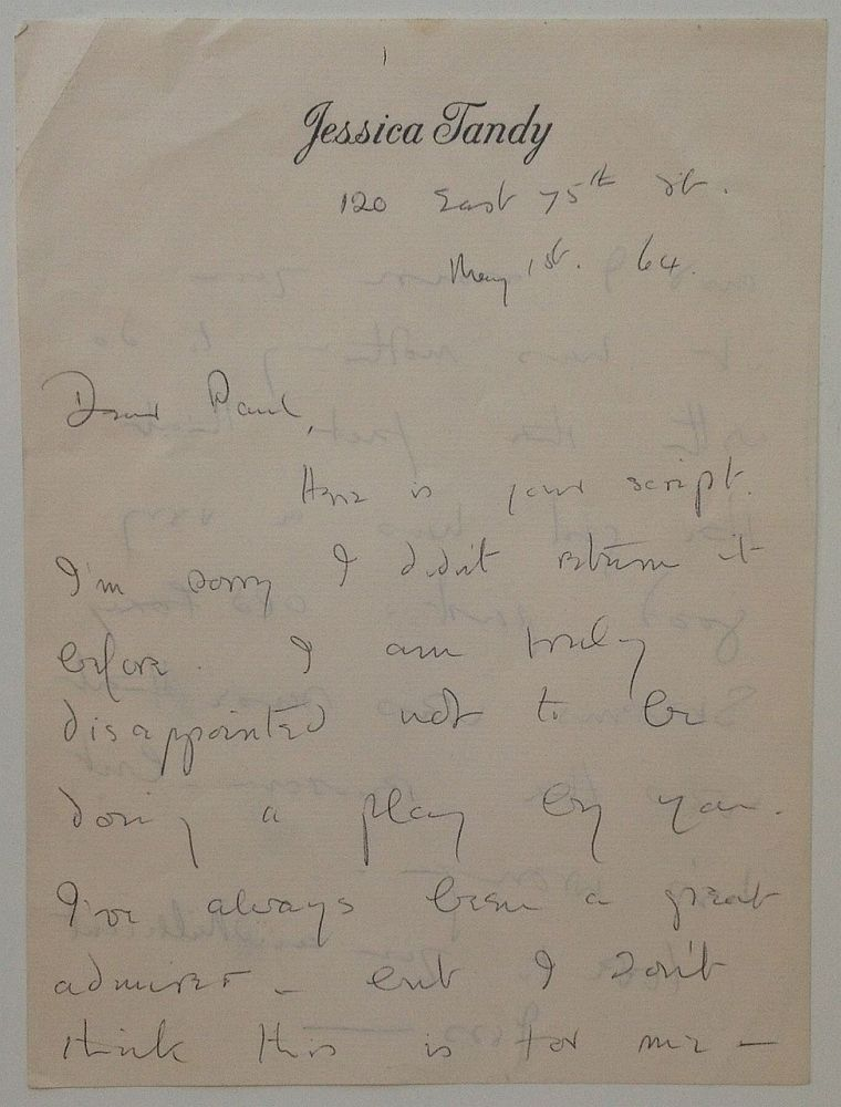 "Autographed Letter Signed ""Jess"" on personal stationery. Jessica TANDY, 1909 - 1994."