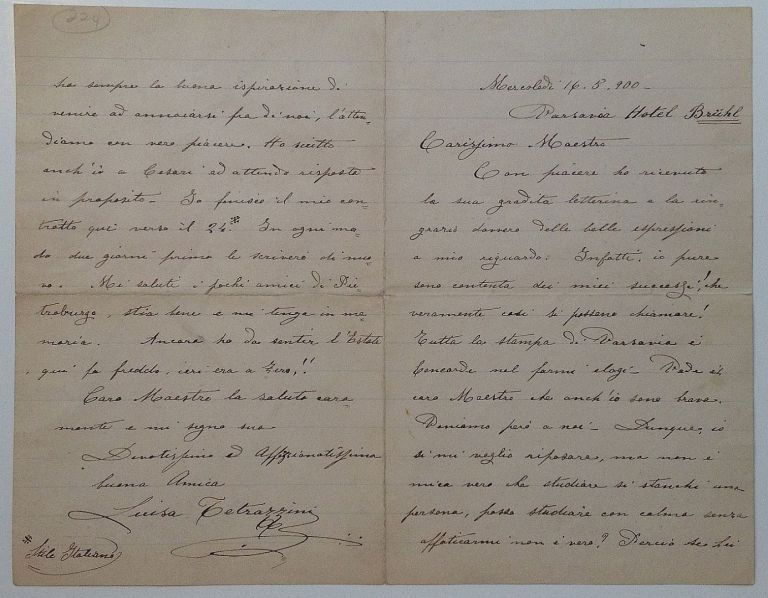 Autographed Letter Signed in Italian. Luisa TETRAZZINI, 1871 - 1940.