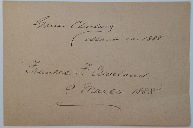 Album Page Signed as President and First Lady. Grover and Francis CLEVELAND.