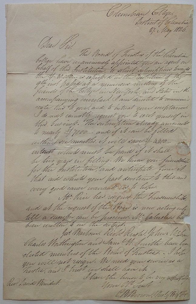 Autographed Letter Signed to David Benedict from a trustee at Columbian College. David BENEDICT, 1779 - 1874.