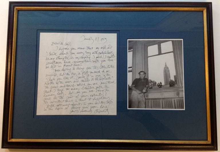 Framed Autographed Letter Signed mentioning his sculpture. Jacques LIPCHITZ, 1891 - 1973.