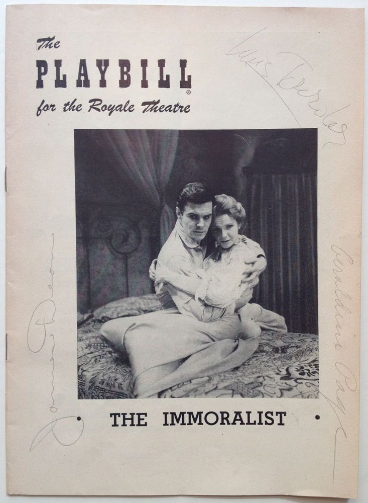 """Signed Playbill -- """"The Immoralist"""" James DEAN, 1931 - 1955."""
