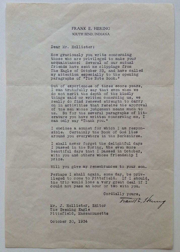 Scarce Typed Letter Signed on personal stationery. Frank E. HERING, 1874 -1943.