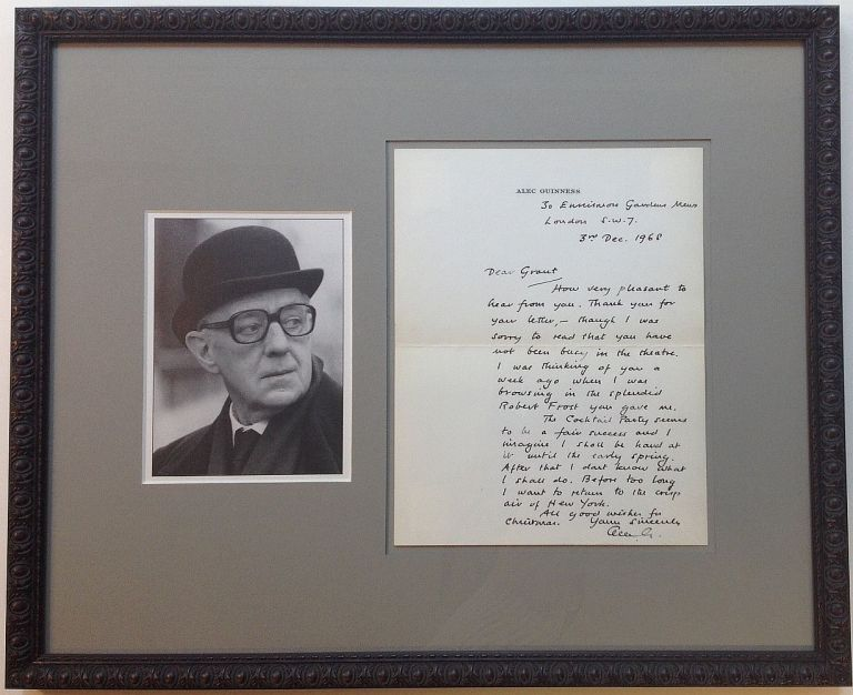 Framed Autographed Letter Signed on personal stationery. Alec GUINNESS, 1914 - 2000.