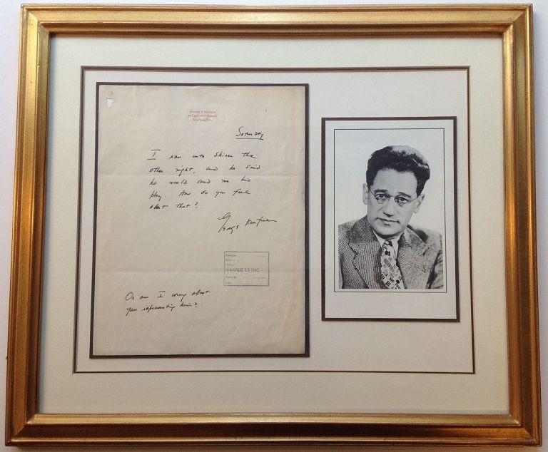 Framed Autographed Letter Signed on personal stationery. George KAUFMAN, 1889 - 1961.