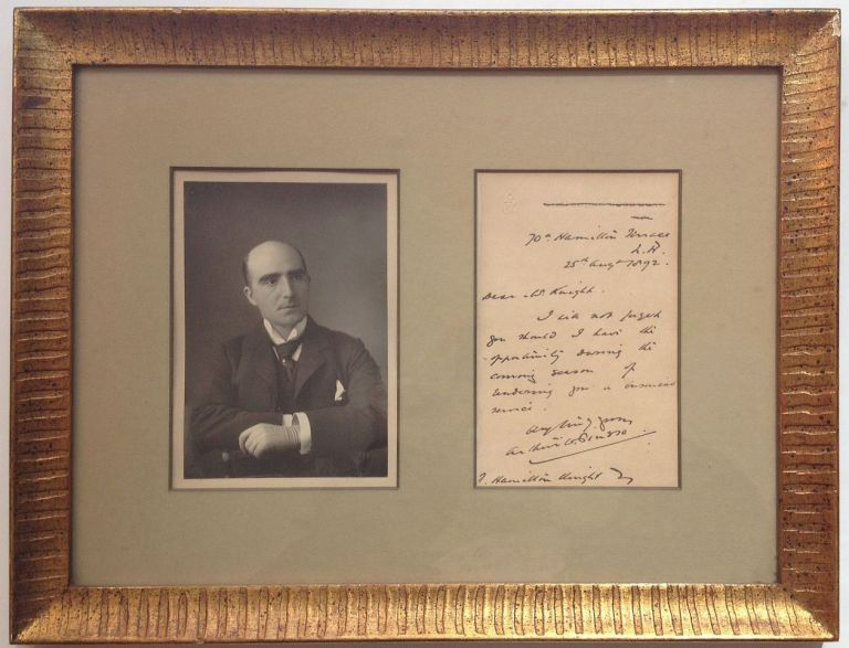 Framed Autographed Letter Signed on personal stationery. Arthur PINERO, 1855 - 1934.