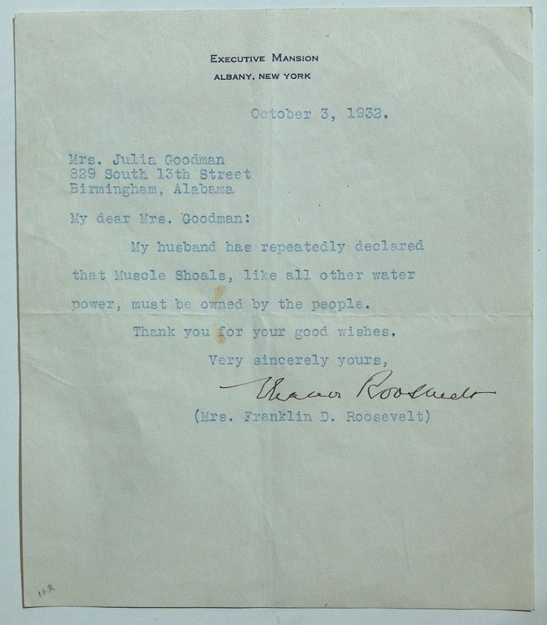 """Typed Letter Signed on """"Executive Mansion"""" letterhead. Eleanor ROOSEVELT, 1884 - 1962."""