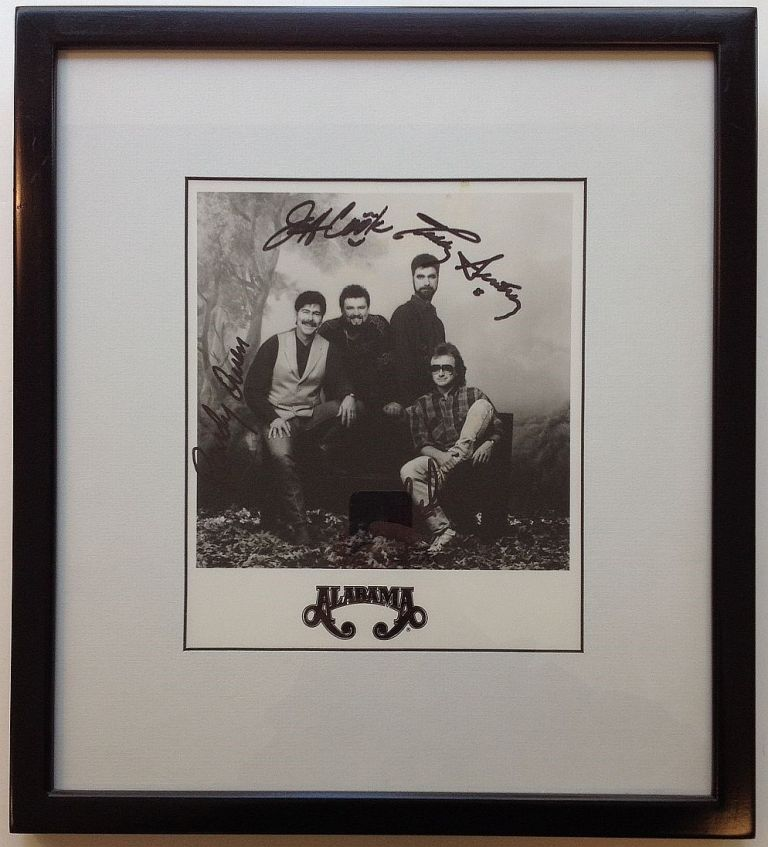 Framed Signed Photograph. ALABAMA, country music band.