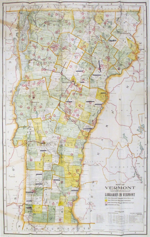 Map of Vermont; Libraries in Vermont. George F. CRAM.