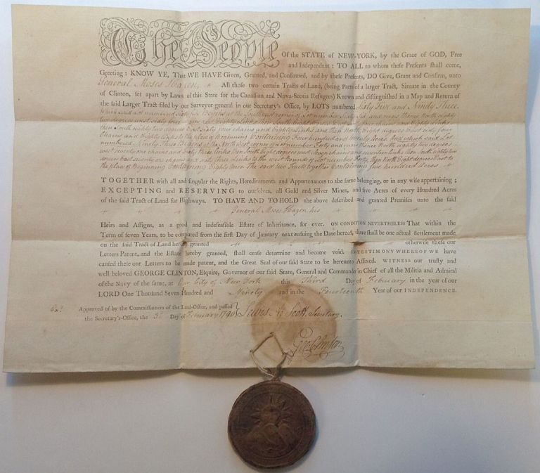 Historically Important partly-printed document signed as Governor of New York. George CLINTON, 1739 - 1817.