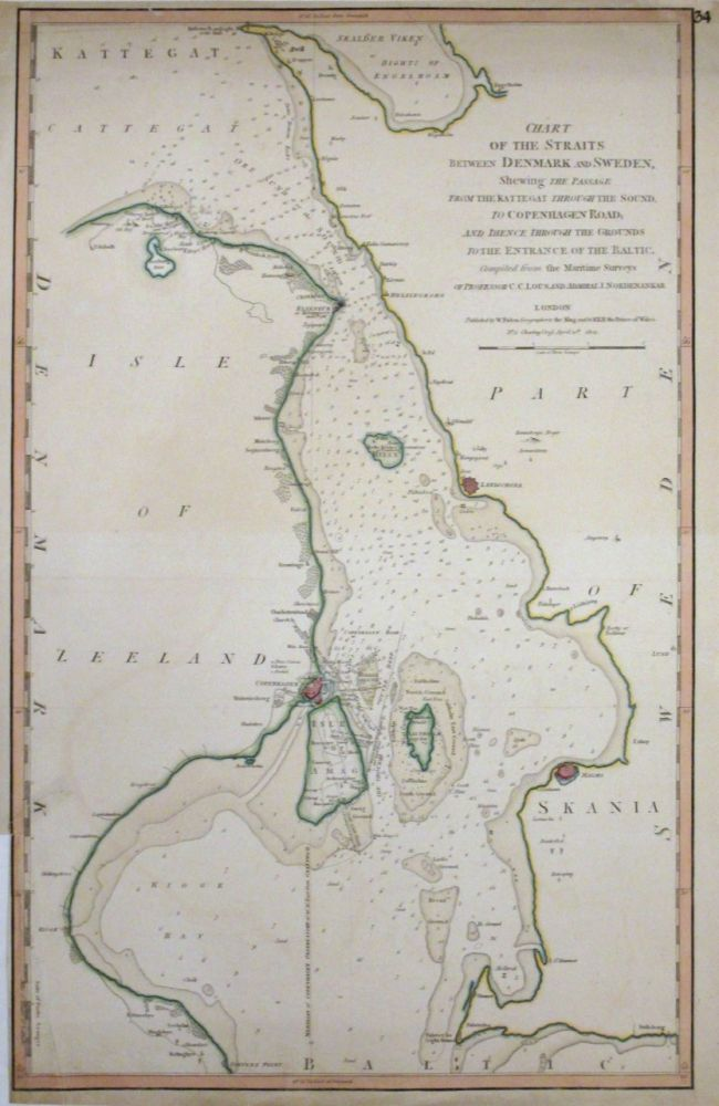 Chart of the Straits between Denmark and Sweden, Shewing the Passage from the Kattegat through the Sound, to Copenhagen Road, and thence through the Grounds to the Entrance of the Baltic. William FADEN.