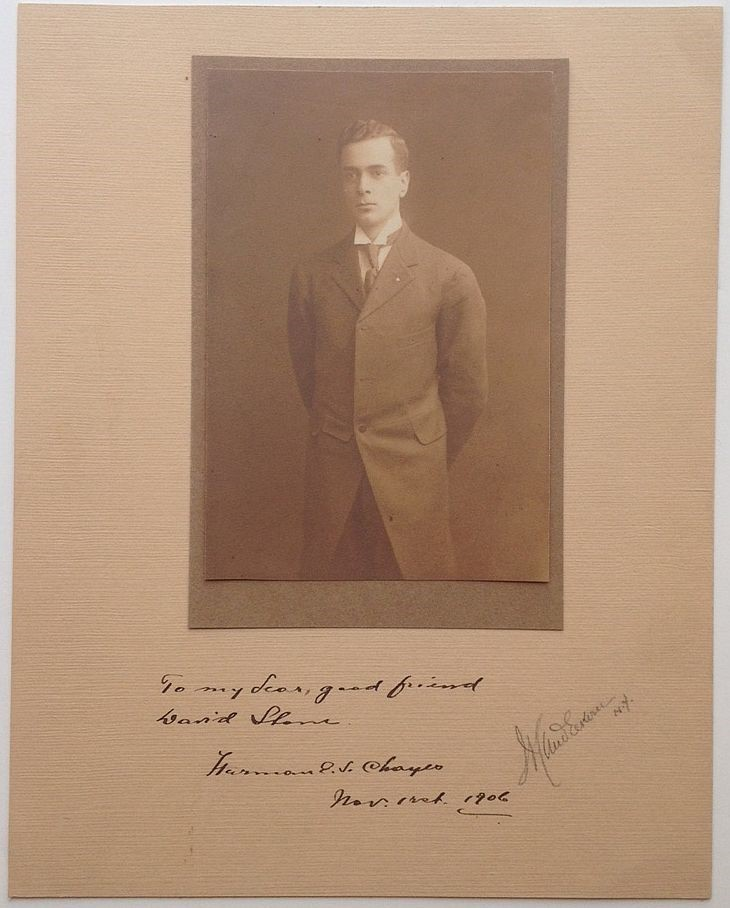 Rare Inscribed Signed Photograph. Herman E. S. CHAYES, 1880 - 1933.