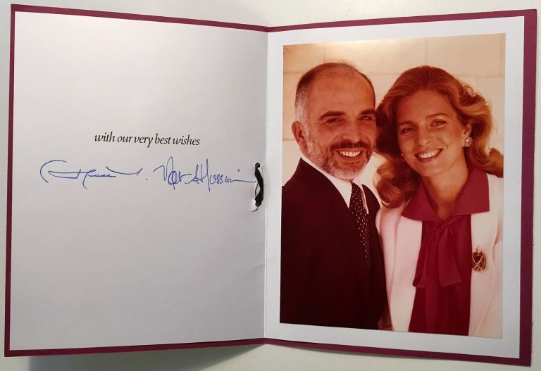 Autographed Personal Greeting Card. KING HUSSEIN I., QUEEN NOOR of JORDAN.