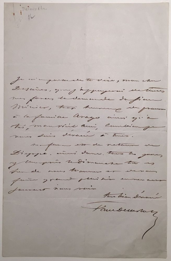 Autographed Letter Signed in French. Paul DELAROCHE, 1797 - 1856.