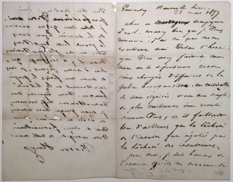 Autographed Letter Signed in French while in exile. Victor HUGO, 1802 - 1888.