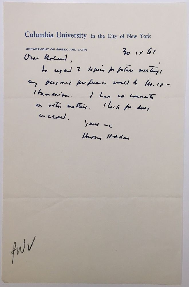 """Autographed Letter Signed on """"Columbia University"""" stationery. Moses HADAS, 1900 - 1966."""