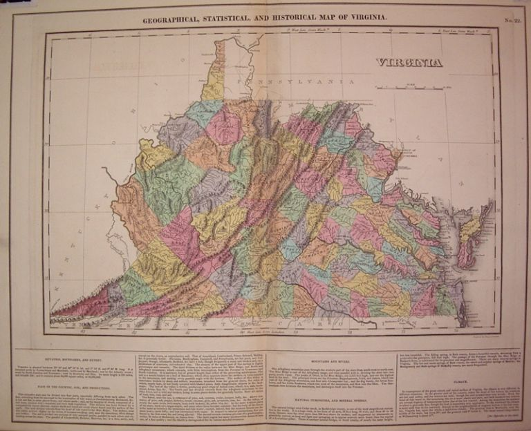Geographical, Statistical, and Historical Map of Virginia. CAREY, LEA.