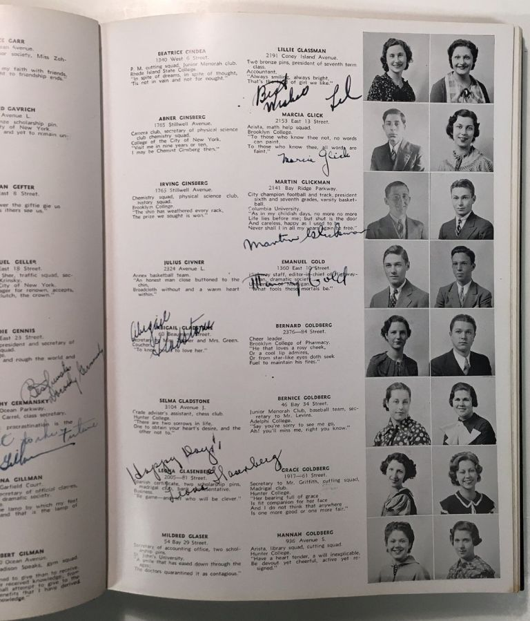 """THE LOG: JUNE 1935 -- signed yearbook from James Madison High School. Martin """"Marty"""" GLICKMAN, 1917 - 2001."""